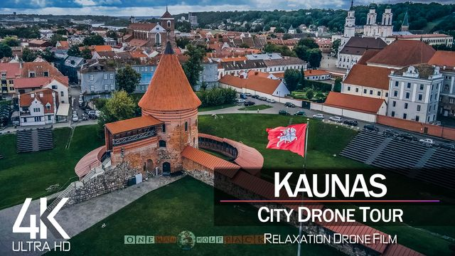 【4K】½ HOUR DRONE FILM: «Kaunas - Lithuania» | Ultra HD | Chillout Music (2160p Ambient UHD TV)