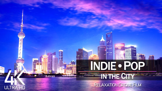 【4K】½ HOUR DRONE FILM: «Indie Pop in the City» | Ultra HD | Music (for 2160p Ambient UHD TV)